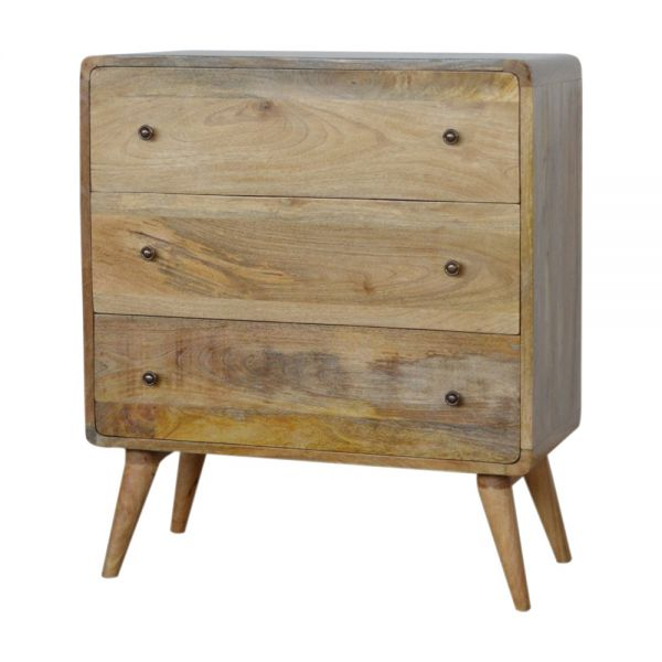 Curved 3 Drawers Bedside Table - Oak-ish