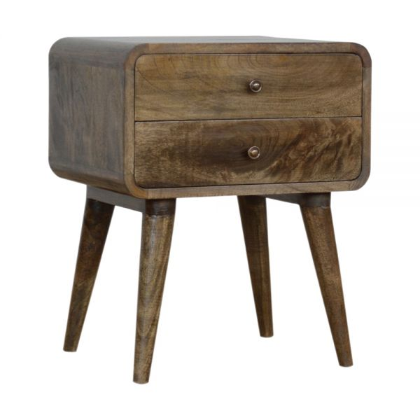 Curved Classic Grey Washed Bedside Table