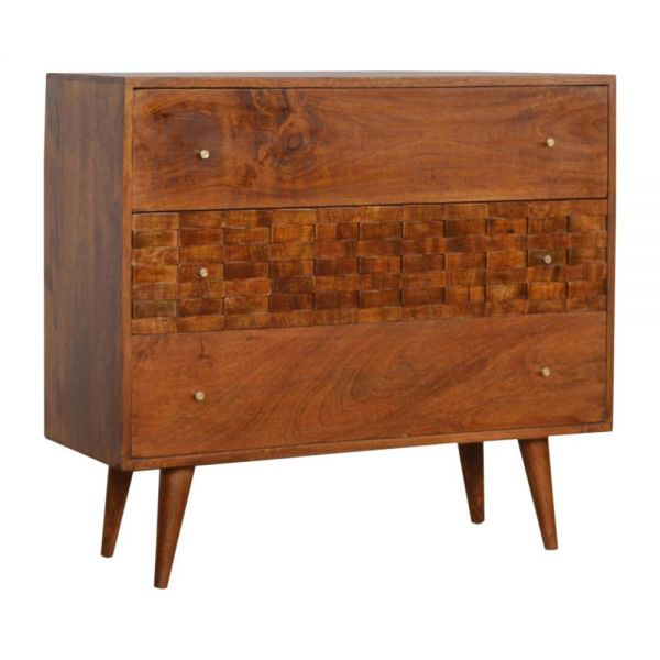 Tile Carved Chestnut Chest of Drawers