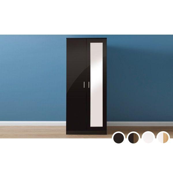 Melbourne 2 Door Mirrored Wardrobe - 4 Colours