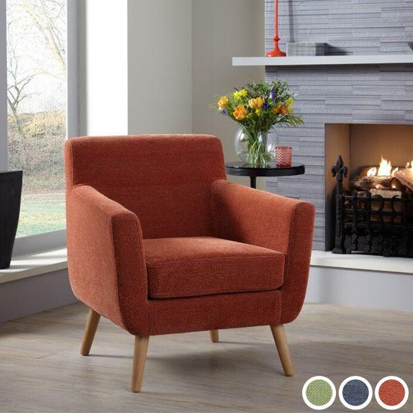 Kelso Fabric Retro Tub Armchair - Green, Orange or Blue