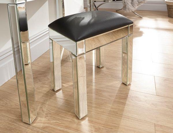Venetian Black Leather Mirrored Dressing Table Stool