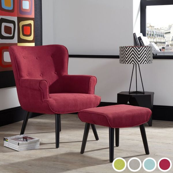 Oban Fabric Retro Armchair & Footstool - Duckegg, Green, Grey or Red