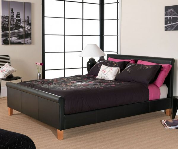 Savona Black Faux Leather Bed - 4 Sizes