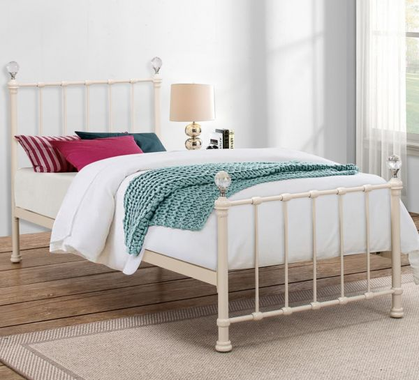 Birlea Jessica 90cm Single Metal Bed - Cream