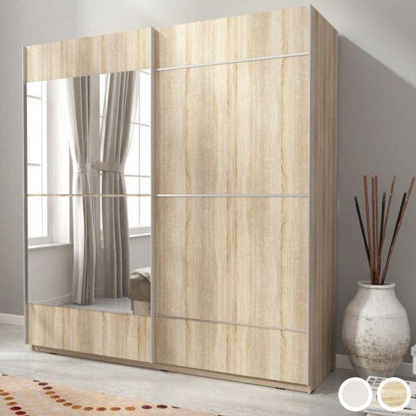 Merlin-IV Mirrored 2-Door Sliding Wardrobe - White or Sonoma Oak