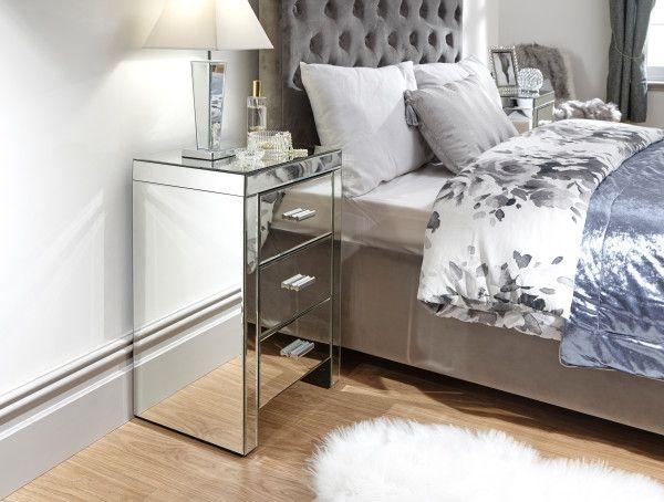 Venetian 3 Drawer Mirrored Bedside Table