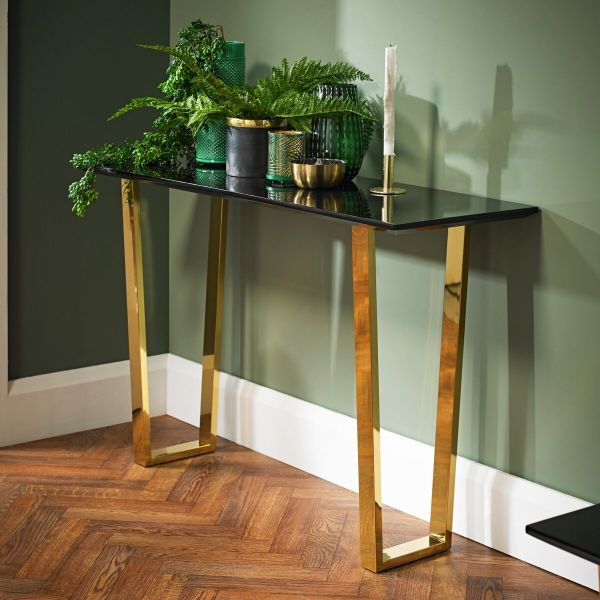 LPD Antibes Gloss Console Table - Black/Gold