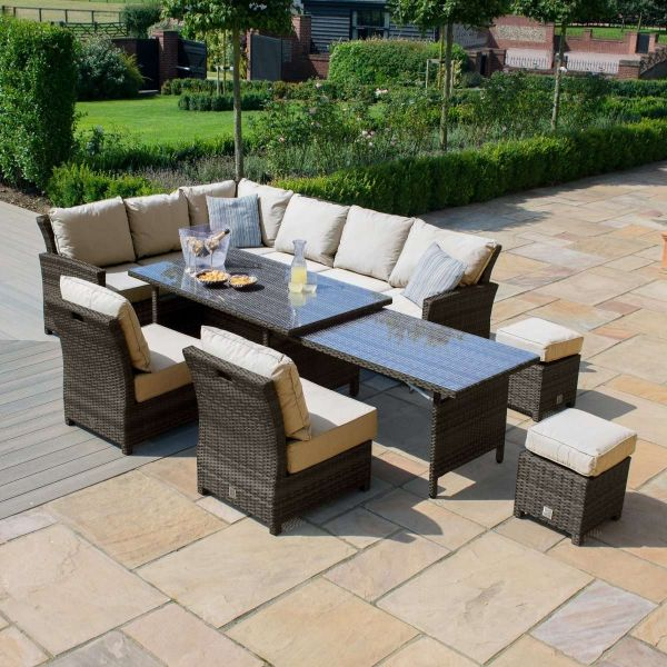 Extendable Kingston Garden Rattan Furniture Set - Brown