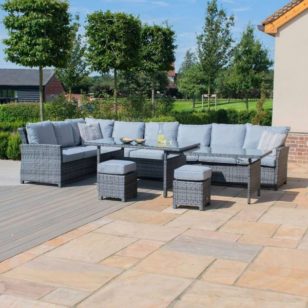 Extendable Kingston Garden Rattan Furniture Set - Grey