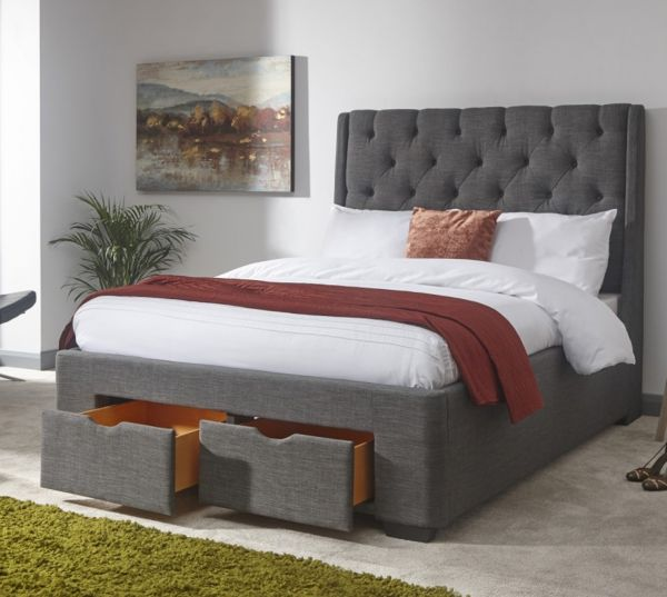 Koln Grey Fabric 2-Drawer Storage Bed & Mattress Set - Double or King
