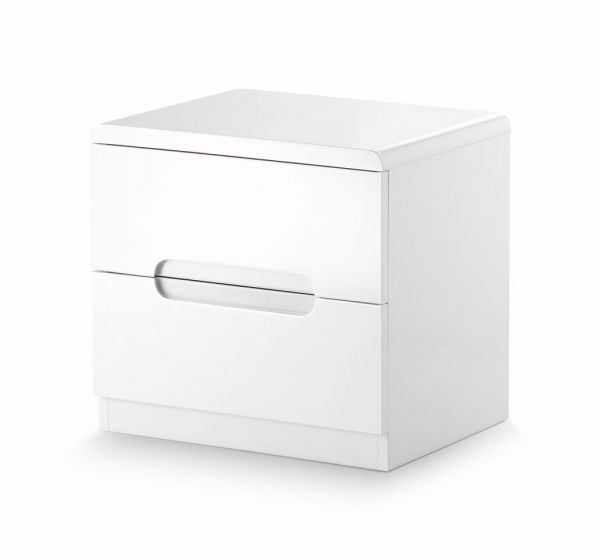 Julian Bowen Manhattan White 2-Drawer Bedside Table