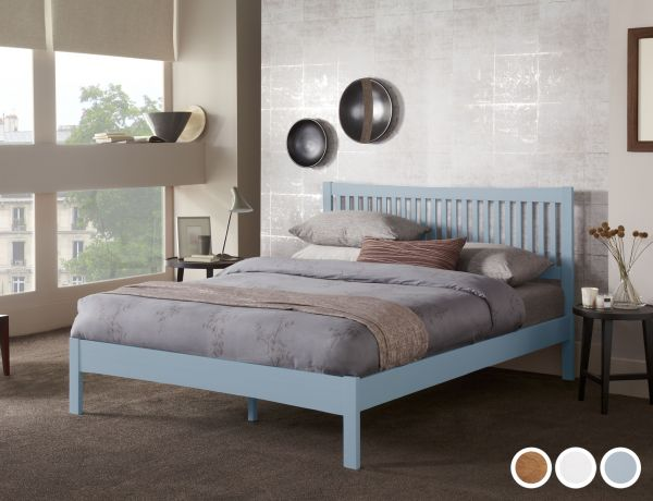 Mya Wooden Bed - 5 Sizes - Oak, White or Grey