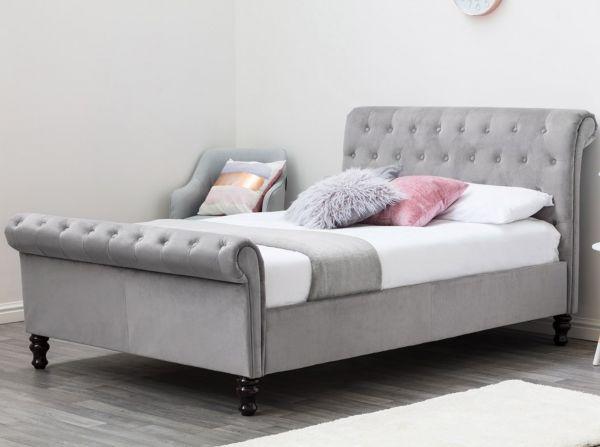 Lambeth Grey Velvet Chesterfield Bed - Double
