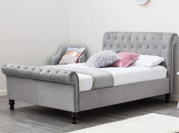 Lambeth Grey Velvet Chesterfield Bed - King