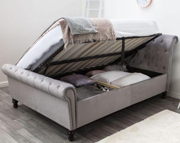 Lambeth Grey Velvet Chesterfield Ottoman Bed - Double