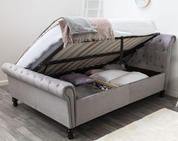 Lambeth Grey Velvet Chesterfield Ottoman Bed - King