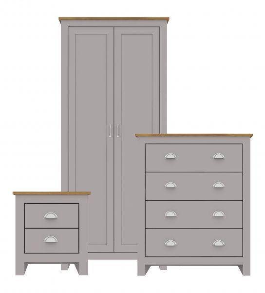LPD Lancaster Wardrobe, Chest & Bedside Set - Grey
