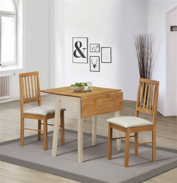 Birlea Lille Cream & Oak Drop Leaf Dining Set