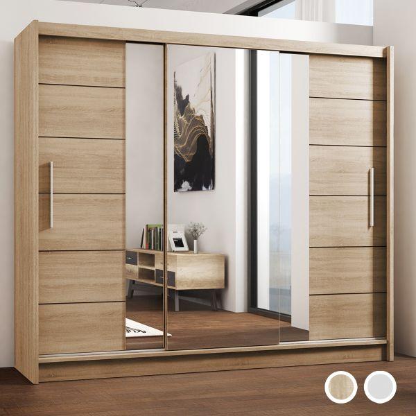 Lizbona Large Sliding Door Wardrobe - Oak and White