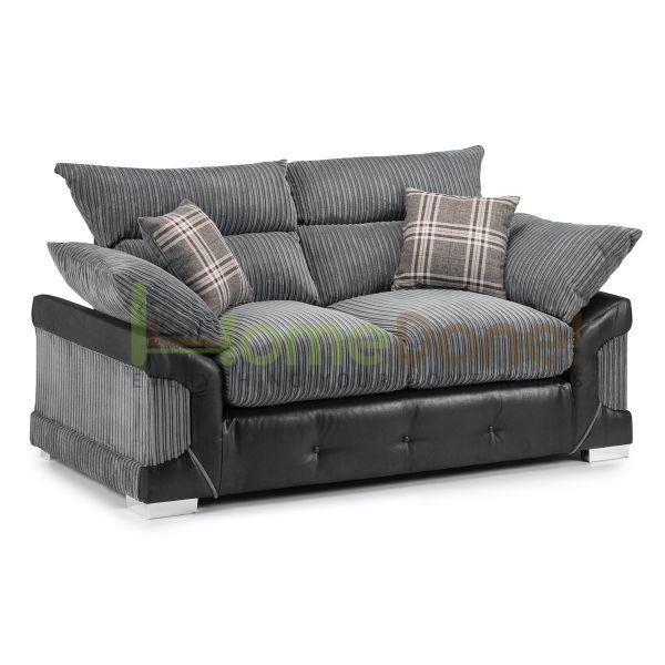 Loga Fabric 2 Seater Sofa - Grey/Black