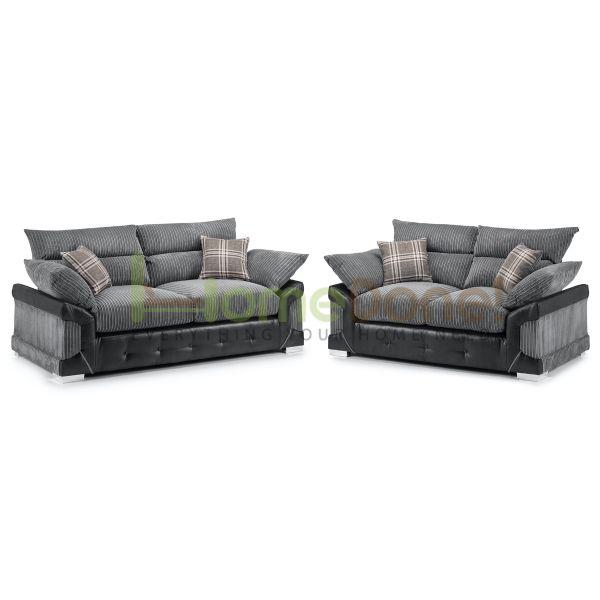 Loga Fabric 3 & 2 Seater Sofa - Grey/Black