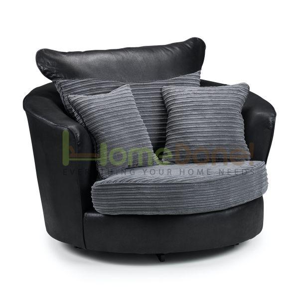 Loga Fabric Swivel Chair - Grey/Black