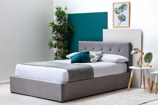 Lowther Grey Velvet Storage Ottoman Bed Frame - 3 Sizes