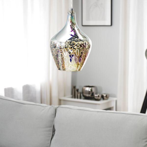 Soana Geometric Glass Pendant Lamp - Silver