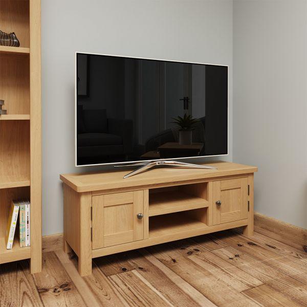 Herman Large TV Unit - Rustic Oak