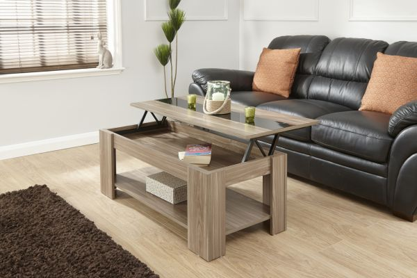 Lift Up Storage High Gloss Strip Coffee Table - 4 Colours