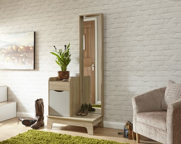 Luna Hallway Storage Unit - Grey Oak