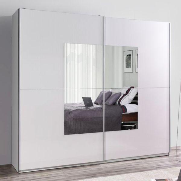 LUXE 30 White Gloss Mirrored Sliding Door Wardrobe