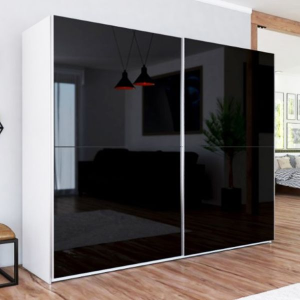 LUXE I Black Gloss Sliding Door Wardrobe