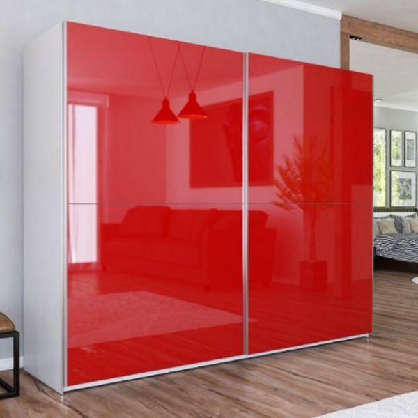 LUXE XIII Red Gloss Sliding Door Wardrobe
