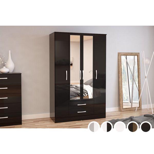 Birlea Lynx 4 Door 2 Drawer Mirrored Wardrobe