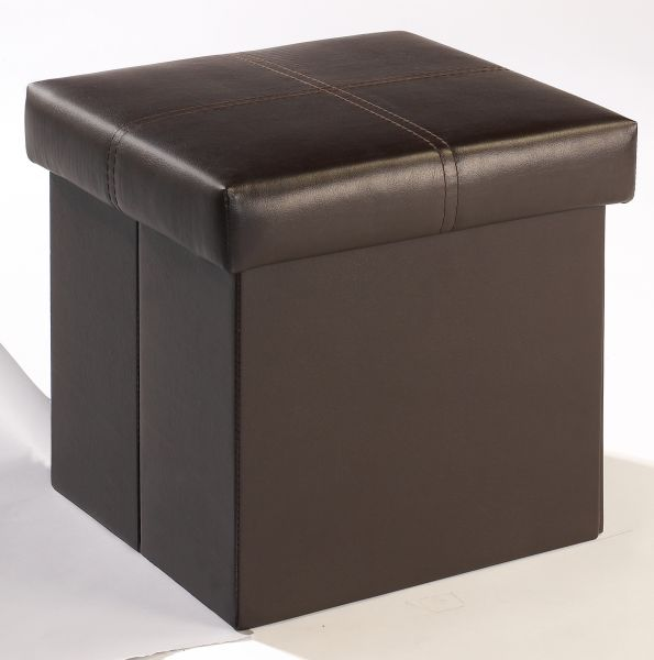 LPD Madrid Small Faux Leather Storage Ottoman - Brown or Black