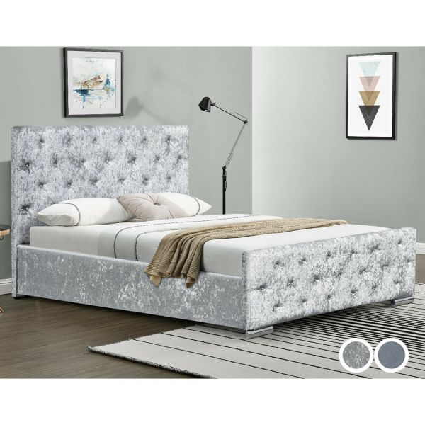 Diamante Chesterfield Crushed Velvet Ottoman Bed Frame in 3 Sizes with Mattress Option - 2 Colours