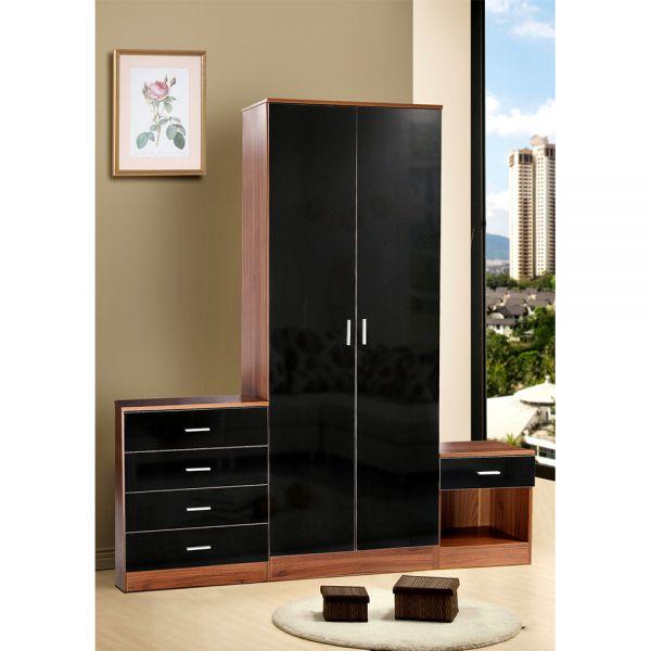 Modern High Gloss 3 Piece Bedroom Trio Set - Walnut & Black