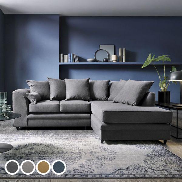 Dorota II Fabric Corner Sofa - Dark Grey