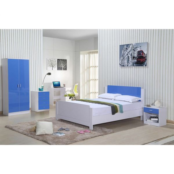 Modern Essential 3 Piece Bedroom Trio Set in White Gloss and Blue