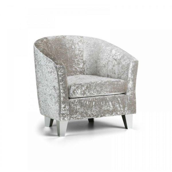 Modern Crushed Velvet Tub Chair Armchair - 3 Colours