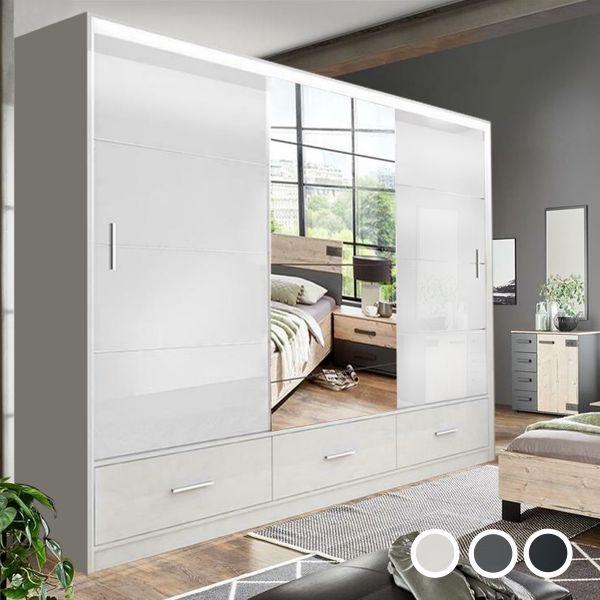 Cornelia Large High Gloss Sliding Door Wardrobe - White, Black, Grey