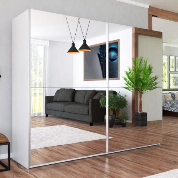 LUXE Full Mirrored Sliding Door Wardrobe - WHITE