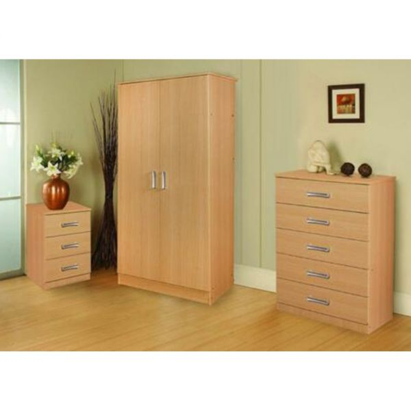 Stylish Oak Wood Bedroom Trio Set