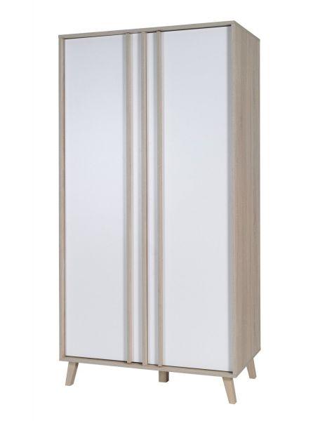 Maxo 2-Door Wardrobe 100cm - Sonoma Oak & White