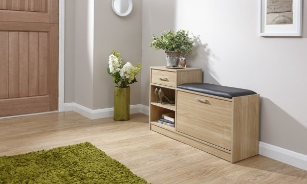 Malmo Shoe Storage Bench - Oak, Walnut or White