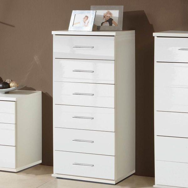 Clack 6-Drawer Narrow Gloss Storage Chest - White