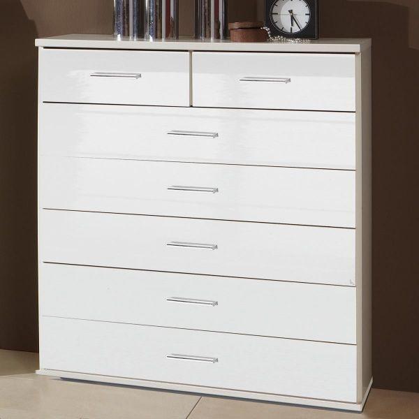 Clack 2+5 Drawer Gloss Storage Chest - White