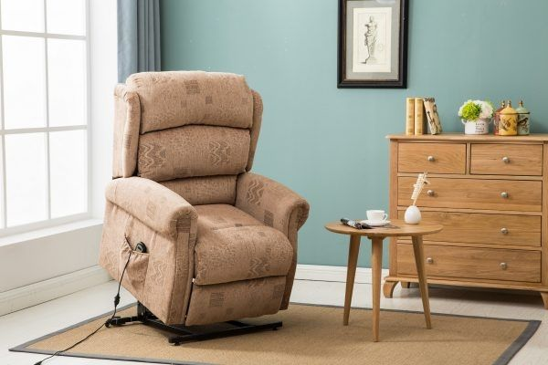 Birlea Manhattan Wheat Fabric Rise & Recline Armchair